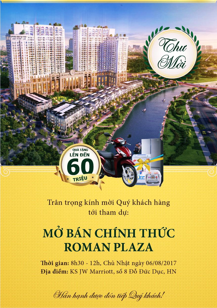 Thư mời sự kiện mở bán chung cư Roman Plaza