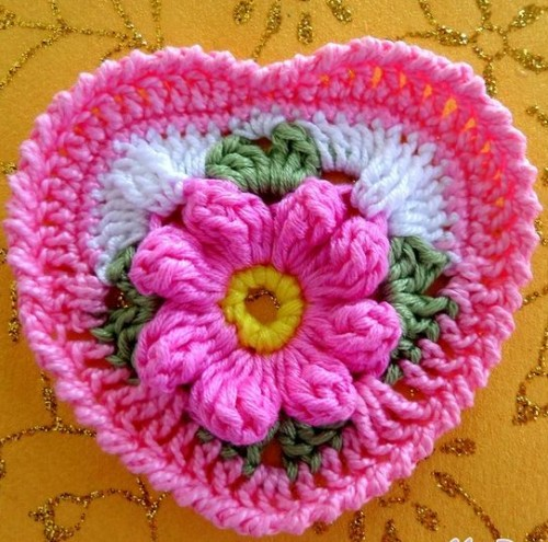 Granny Square Heart with a Flower in the Center - Free Pattern