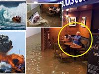 Foto Pria yang Sedang Minum Kopi di Tengah Banjir ini Jadi Viral di Internet. Gambar Gambar Memenya Bikin Ngakak