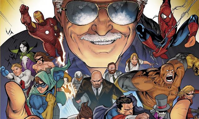 Imagen de Stan Lee con sus creaciones y superhéroes
