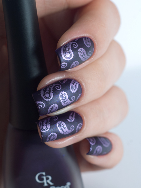 Stamping art: Lesly LS-107 + Golden Rose matte 09