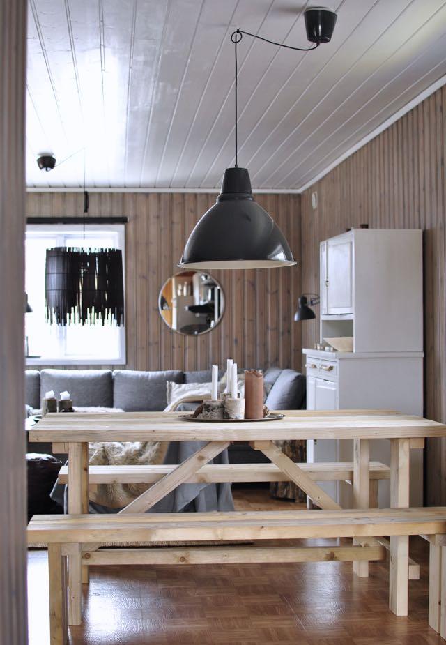 hannashantverk.blogspot.se fjällstuga mökki cabin hytte köksbord bänkar