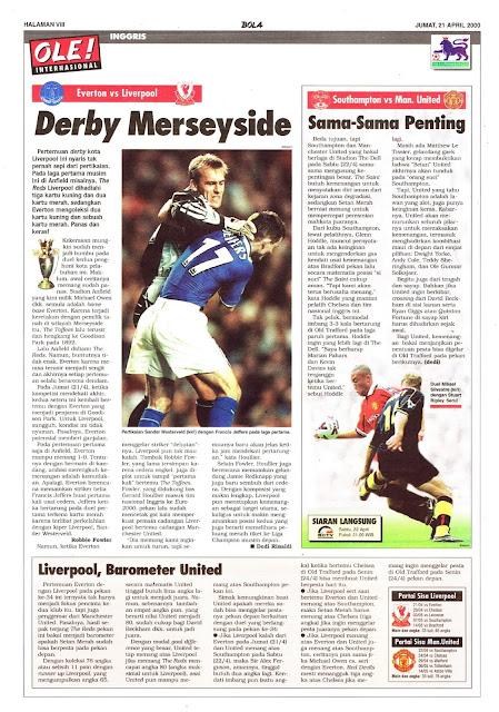 EVERTON VS LIVERPOOL DERBY MERSEYSIDE 2000