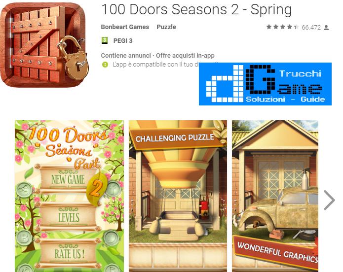 Soluzioni 100 Doors Seasons 2 - Spring livello  1  2  3  4  5  6  7  8  9 10 | Trucchi e  Walkthrough level