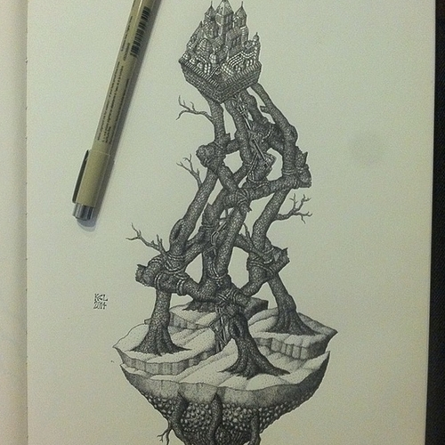 19-Precarious-Situation-Kyle-Leonard-Miniature-Drawings-of-Human-and-Environment-Struggle-www-designstack-co