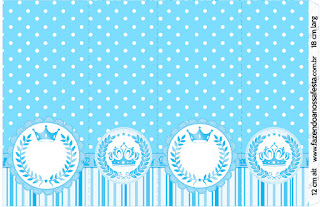 Light Blue Crown in Stripes and Polka Dots  Free Printable Candy Bar Labels for a Quinceanera Party.