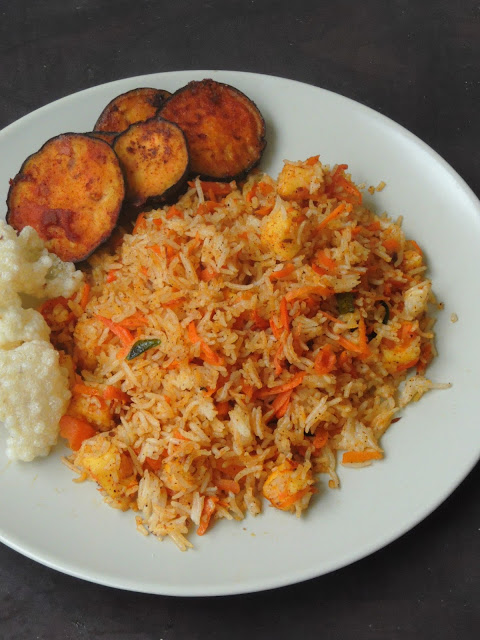 Paneer Carrot Rice, Carrot Rice with Paneer