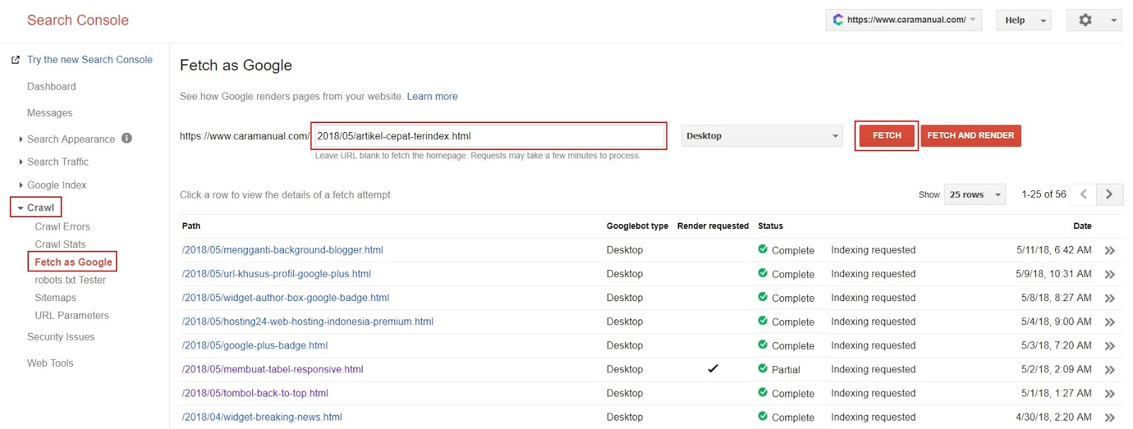 Fetch as Google - Search Console