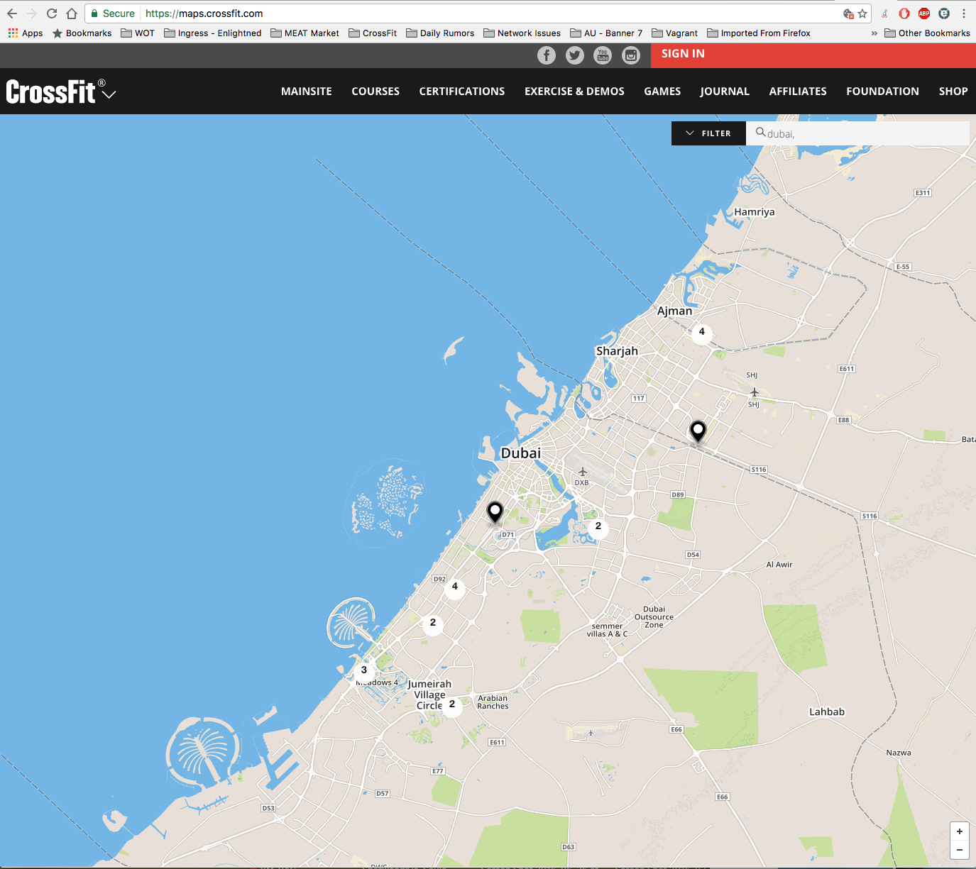 using that wonderful tool for when i travel finding the nearest crossfit boxes https maps crossfit com