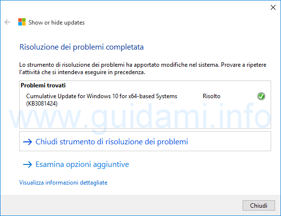 Show or hide update Hide Update aggiornamenti Windows 10 bloccati