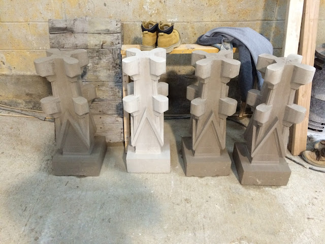 Multiple pieces awaiting finishing for Cathedral.