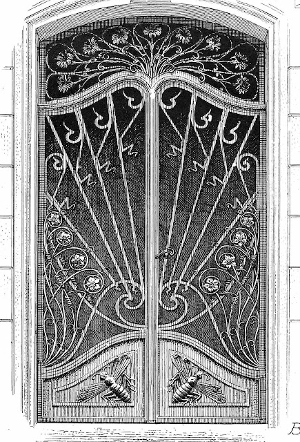 Large illustration of unusual art nouveau metal doors