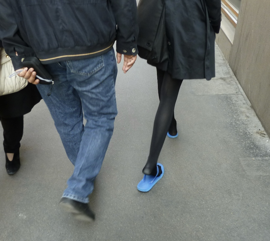 760e7fa89 Now black tights in flip-flops is not something you see everyday and had me  wonder whether this was a budding fashion trend I ...