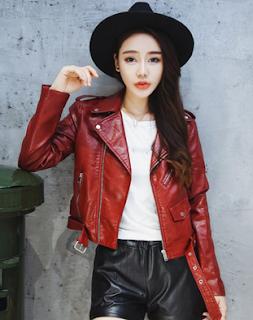 Gambar Jaket Kulit Wanita Korea Warna Merah