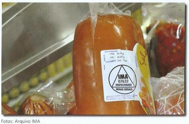 Embalagem de Salame com selo de Inspeção do Instituto Mineiro de Agropecuária