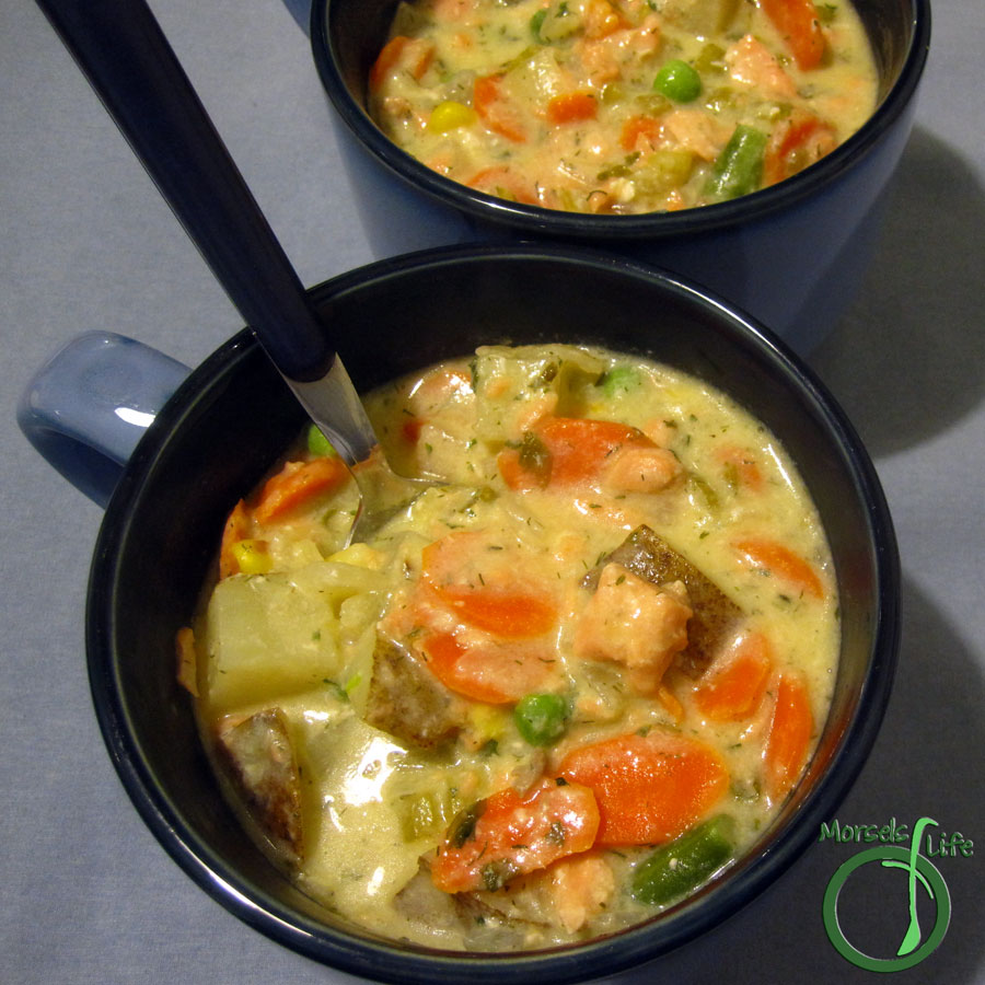Morsels of Life - Salmon Chowder - A creamy and chunky salmon chowder hearty enough for a meal. Delightful in some bread (or just plain) bowls!