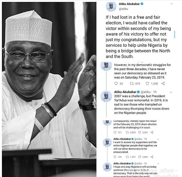 Presidential Candidate,  Atiku gives reasons why he hasn't greeted Buhari Congratulation