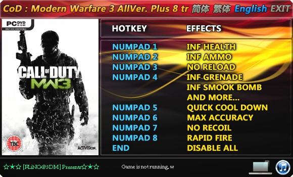 Call Of Duty Modern Warfare 3 pc trainer granadas infinitas