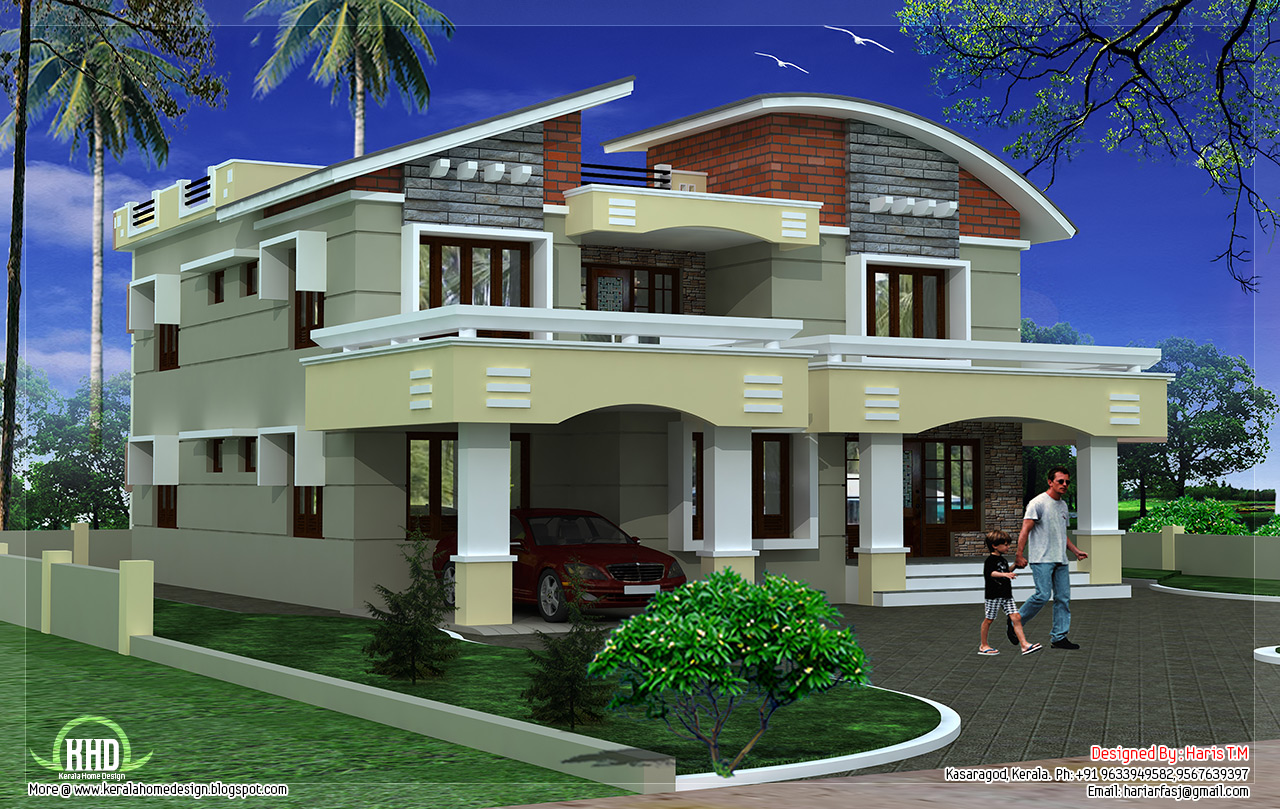 Double storey luxury home design kerala home design and for Luxury house designs and floor plans
