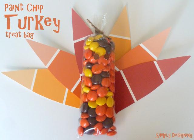 paint chip turkey treat bag 01a Gold Pumpkin Vase Filler {Pottery Barn Knock-Off} 1 gold pumpkin