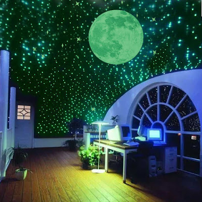 kids room stretched ceiling design with starry sky lighting theme