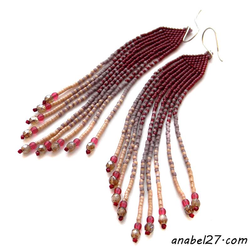 Seed bead earrings beadwork jewelry