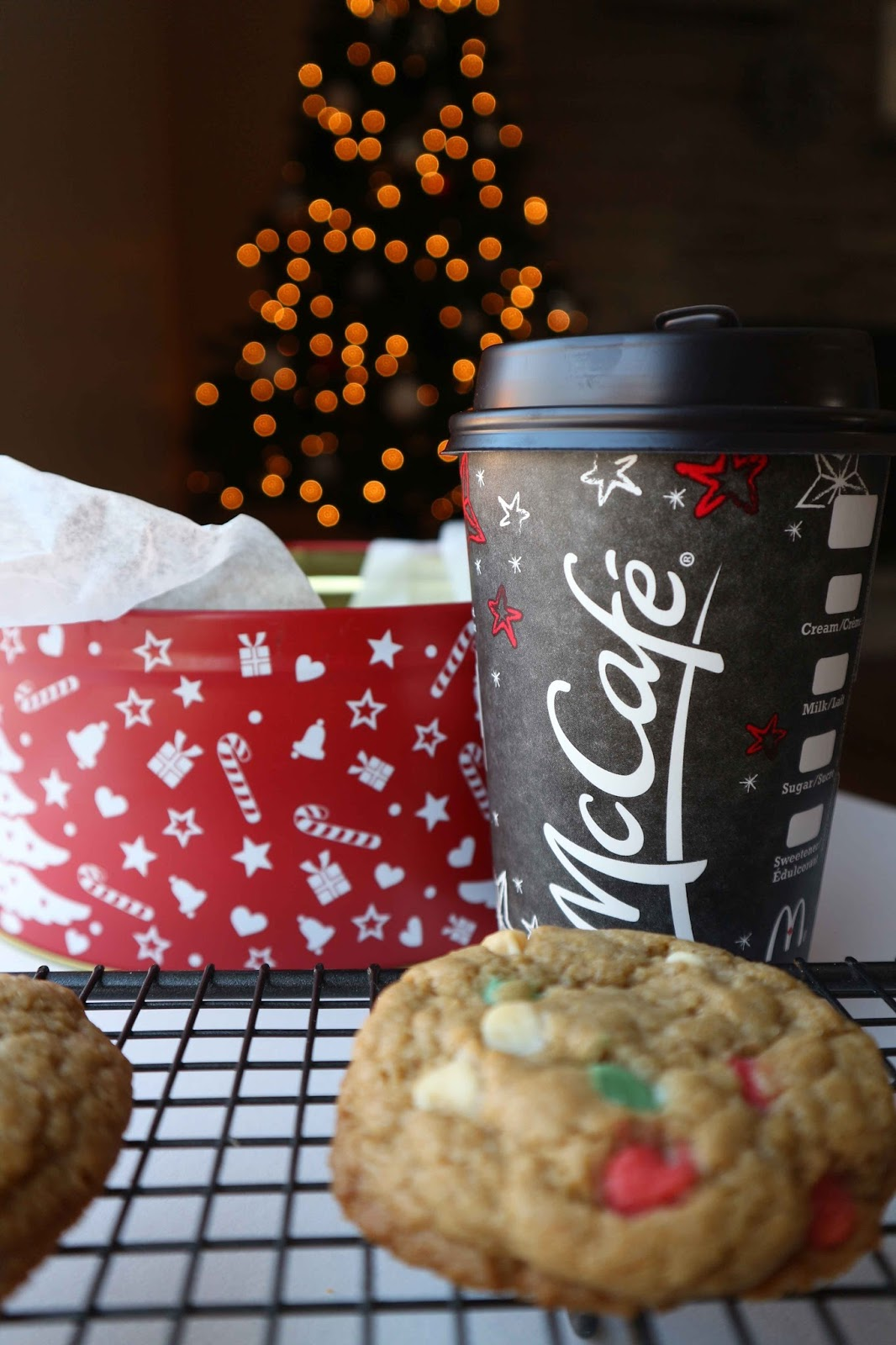 Christmas chocolate chip cookies with Crème Brûlée Latte - McCafe