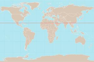 Mapa de localización del Trópico de Cáncer, en el hemisferio Norte