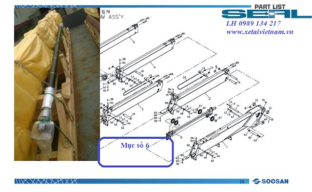 Xy lanh ra vào cần cẩu soosan SCS1015- TELESCOPIC CYLINDER Hàn Quốc