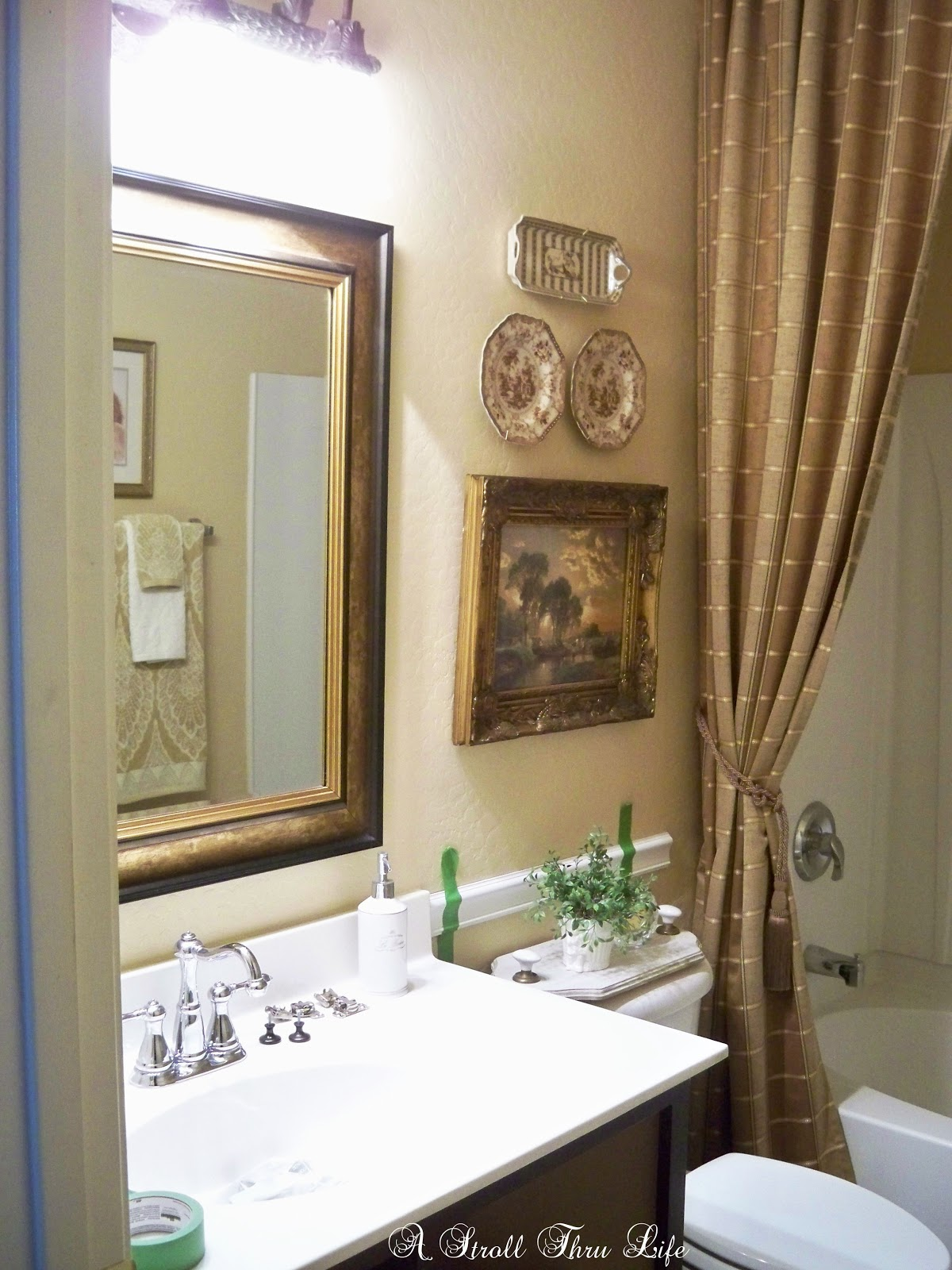 Chair Rail On Just One Wall Part - 29: A Stroll Thru Life: Hall Bathroom Makeover Update - Chair Rail U0026 Moldings