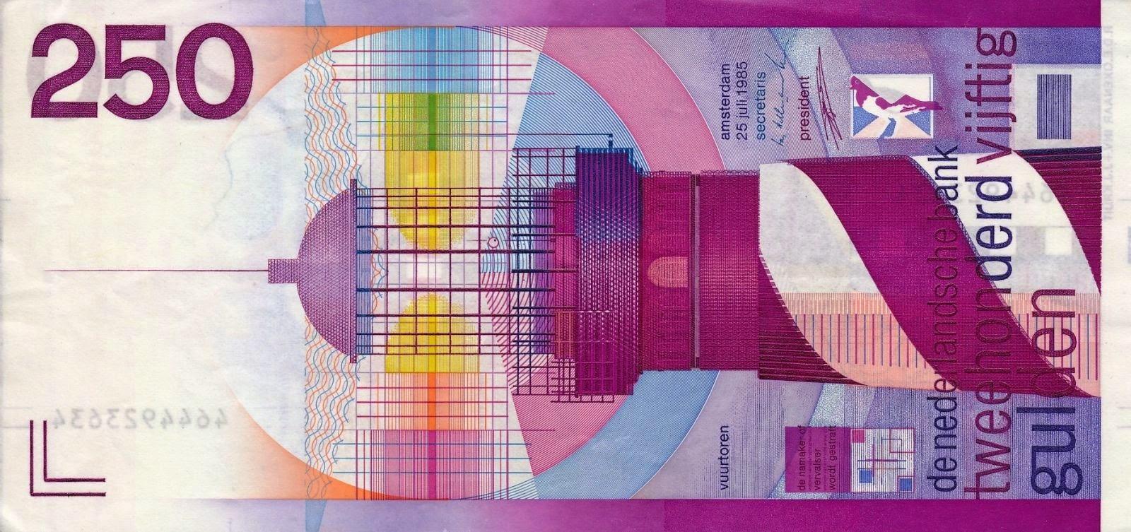 Netherlands Banknotes 250 Gulden Banknote 1985 Lighthouse