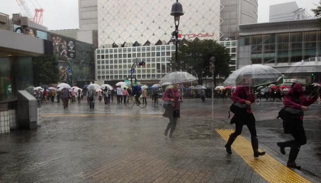 画像:台風の渋谷駅前