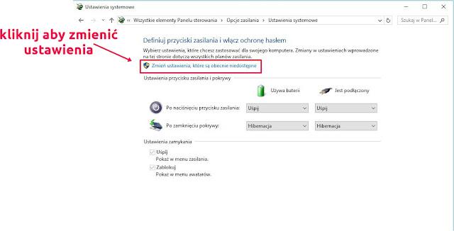 opcje zasilania windows 10 hibernacja i uśpienie