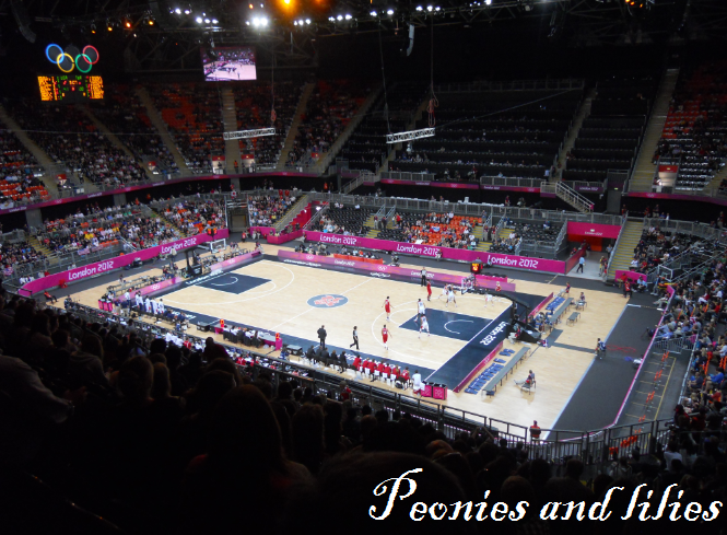 London 2012, London 2012 olympics, London 2012 olympics basket ball stadium, London 2012 olympics basketball match, Peonies and lilies