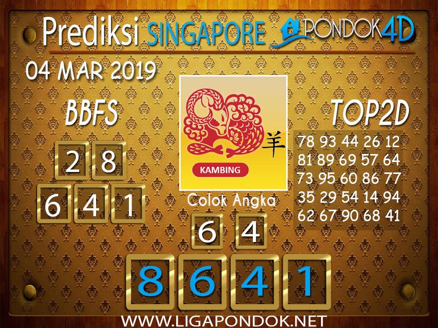 Prediksi Togel SINGAPORE PONDOK4D 04 FEBRUARI 2019