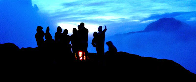 Sunset at Plawangan Sembalun Crater Rim altitude 2639 m of Mount Rinjani