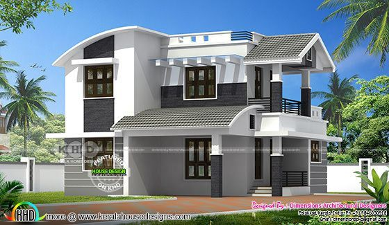 1610 square feet modern mixed roof house