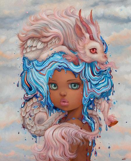 "Camilla d'Errico, ""Little Miss Goo"" - oil on wood panel | obras de arte pop contemporaneo, pinturas, surrealismo pop, art pictures inspiration | art selecta"