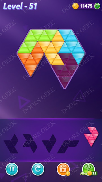 Block! Triangle Puzzle 5 Mania Level 51 Solution, Cheats, Walkthrough for Android, iPhone, iPad and iPod