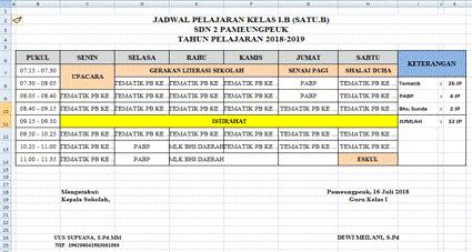 Jadwal Pelajaran Kurikulum 2013
