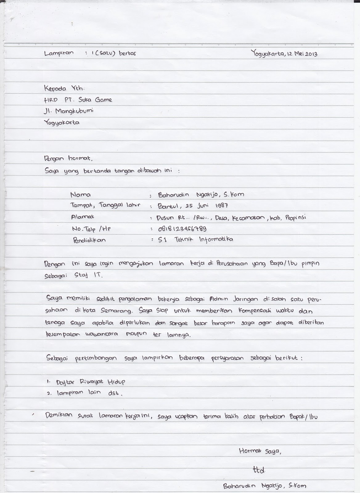 Contoh Surat Lamaran Tulis Tangan Cpns 2014 Contoh Surat Pribadi