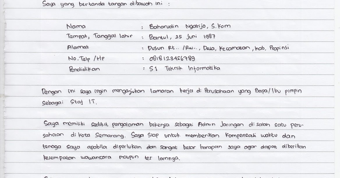 Contoh Surat Lamaran Tulis Tangan Cpns 2014