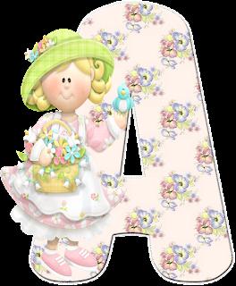 Abecedario de Nena en el Jardín. Girl at the Garden Alphabet.