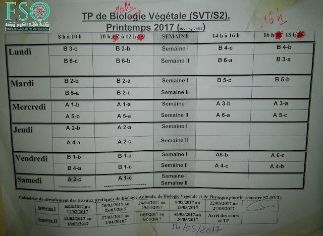 SVT S2 : Emploi du temps de TP de Biologie Végétale