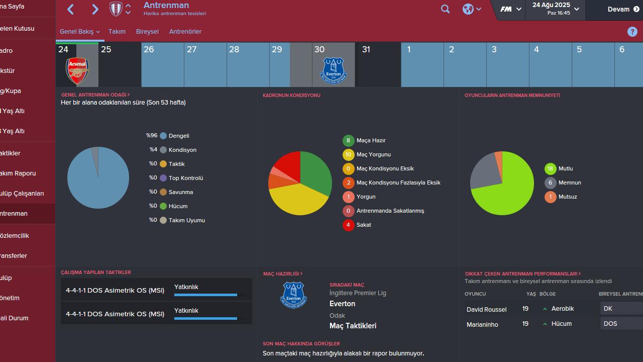 Football Manager 2016 - Antrenman Ekranına Genel Bakış