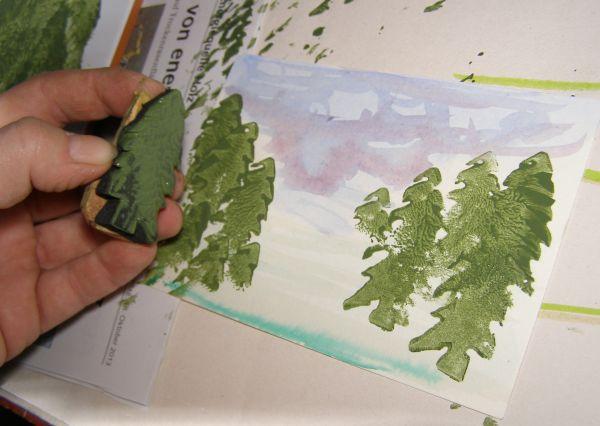Weihnachtskarten Malen.Buchkleid Weihnachtskarten Stempeln Und Malen