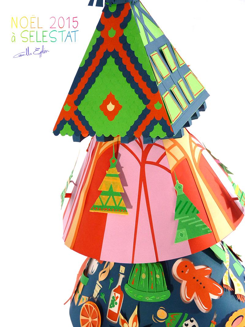 Voici une photo représentant mes trois étages du sapin de Noël en papier réalisé pour la ville de Sélestat