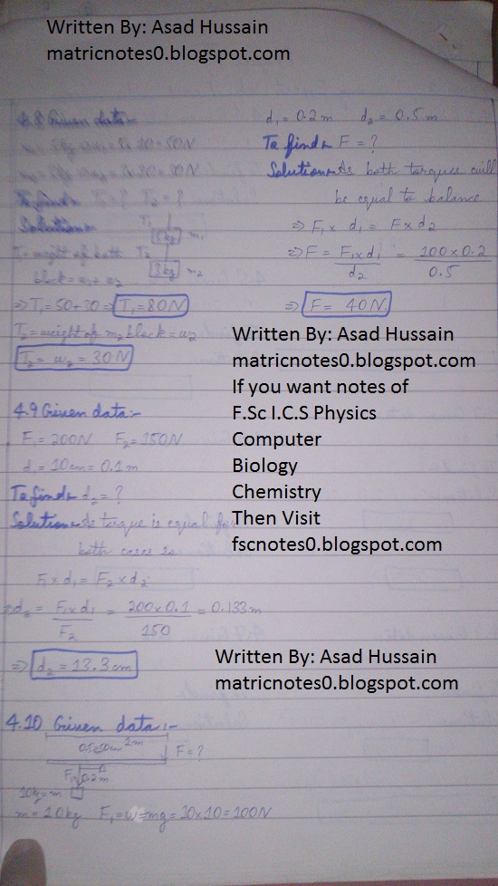 Matric 9th Physics Notes Chapter 4 Numerical Asad Hussain 1