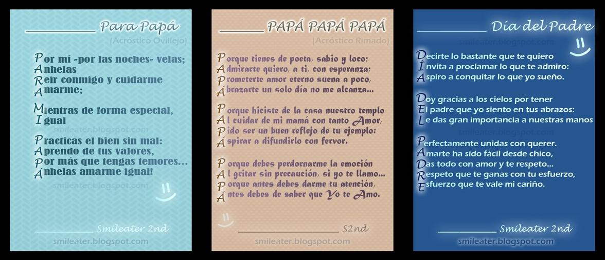 Smileater 2nd: ACROSTICOS DEL DÍA DEL PADRE (CON RIMA Y