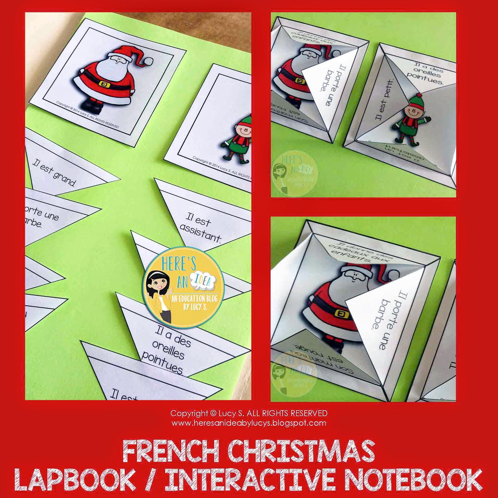French Christmas Interactive Sorting Activity for Lapbooks